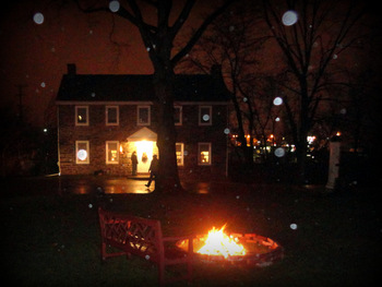 Miller's House and bonfire