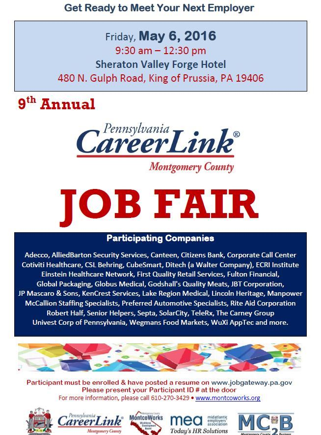 Pa Careerlink 174 Job Fair Montgomery County Pa Official