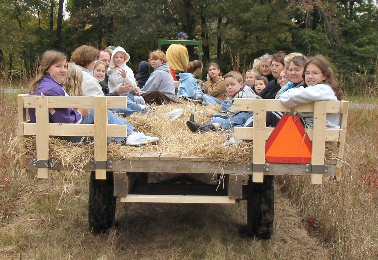 families on a hayride