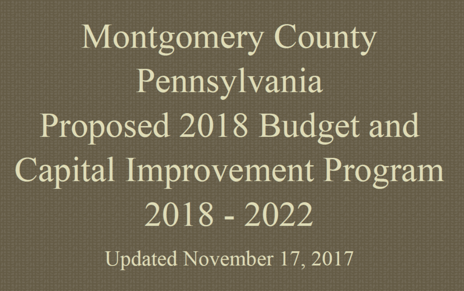 Ponds department of environmental protection montgomery county md - Montgomery County Proposed 2018 Budget And Capital Improvement Program