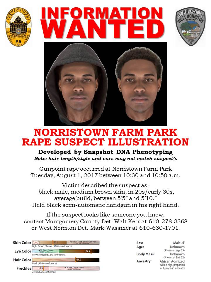 Information Wanted Poster Norristown Farm Park Rape Suspect Illustration