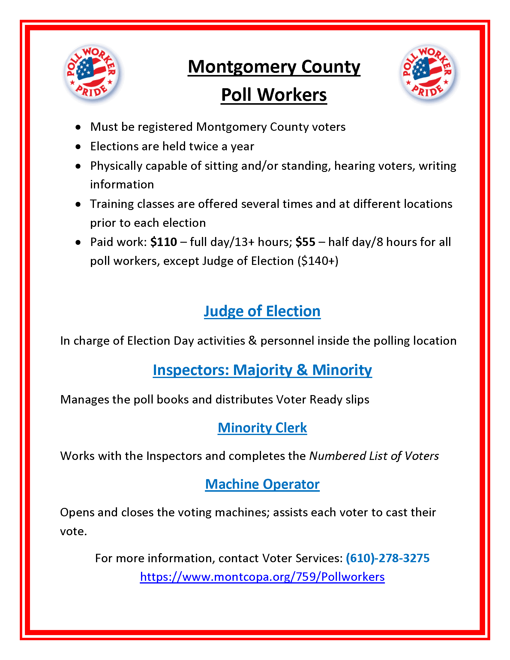 Pollworkers Montgomery County Pa Official Website