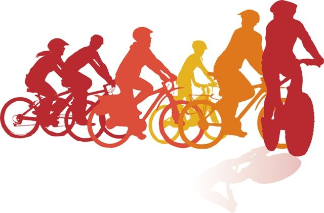 Illustration of bicyclists riding