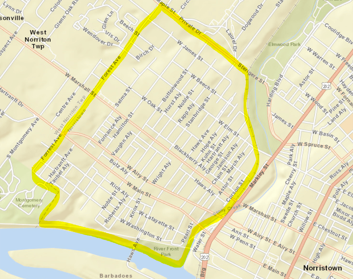 Map of Norristown spray area, between Forrest Avenue and Markley Street, and between the river and M