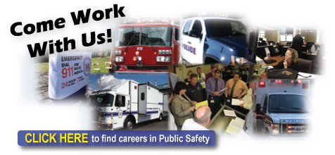 Montage of various roles in public safety including 9-1-1, police, fire, and ambulance services. The