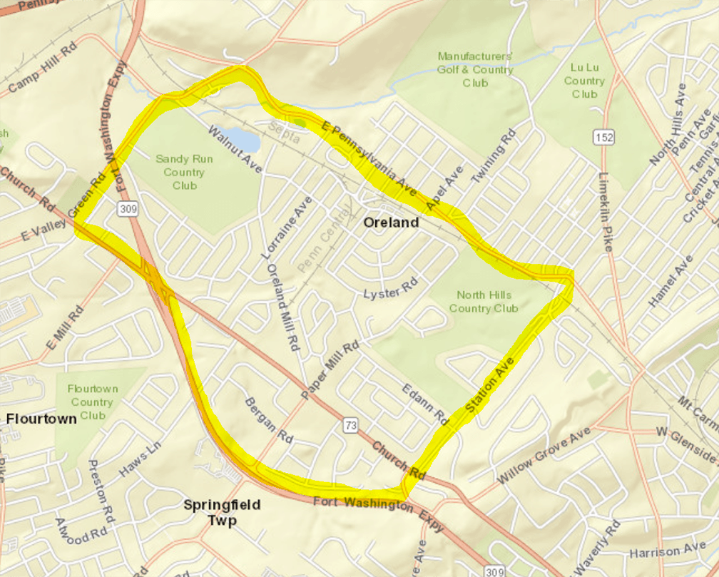 Mosquito spray map of area between East Pennsylvania Avenue and Route 309, and between Station Avenu