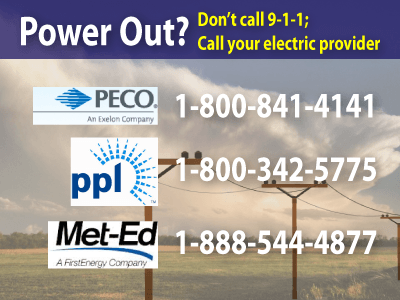 Image of phone numbers to call for power outages