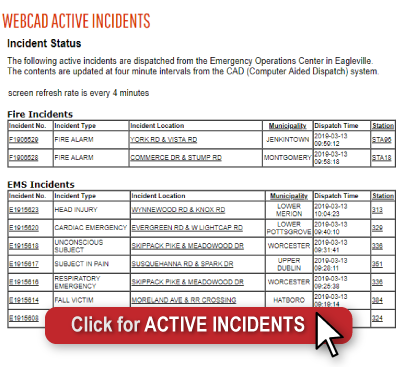 "List of generic emergency calls with a banner that says ""Click for Active Incidents"""