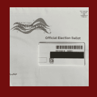 White envelope with a black box covering the address line on the right side of the envelope.
