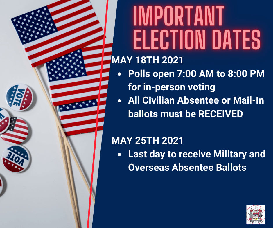 2021 Primary is on May 18th. Polls are open 7 AM until 8 PM. All Civilian Mail In Ballots are due.
