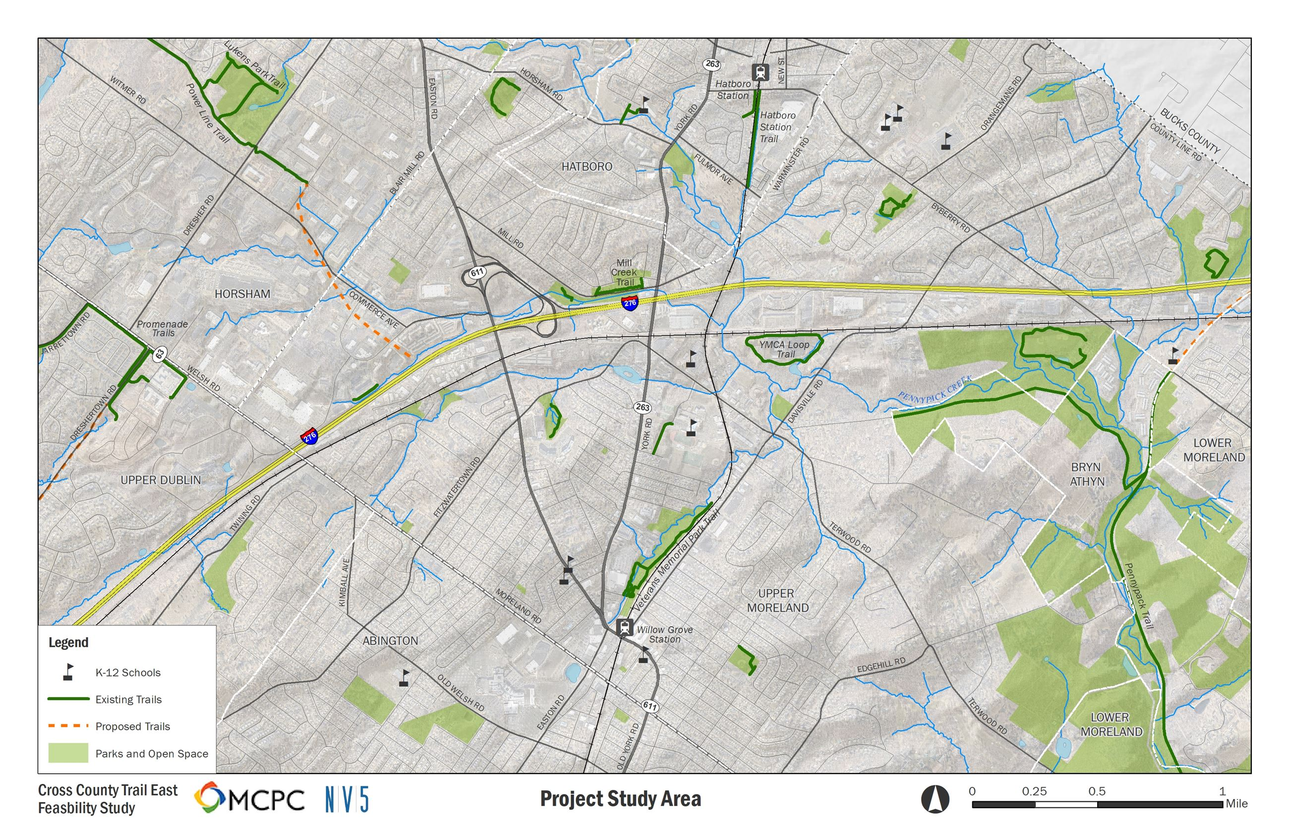 Cross County Trail feasibility study project map