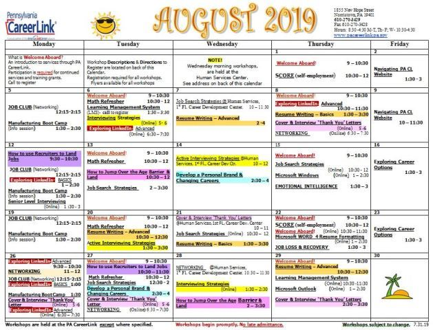 8-2019 REVISED CareerLink Calendar