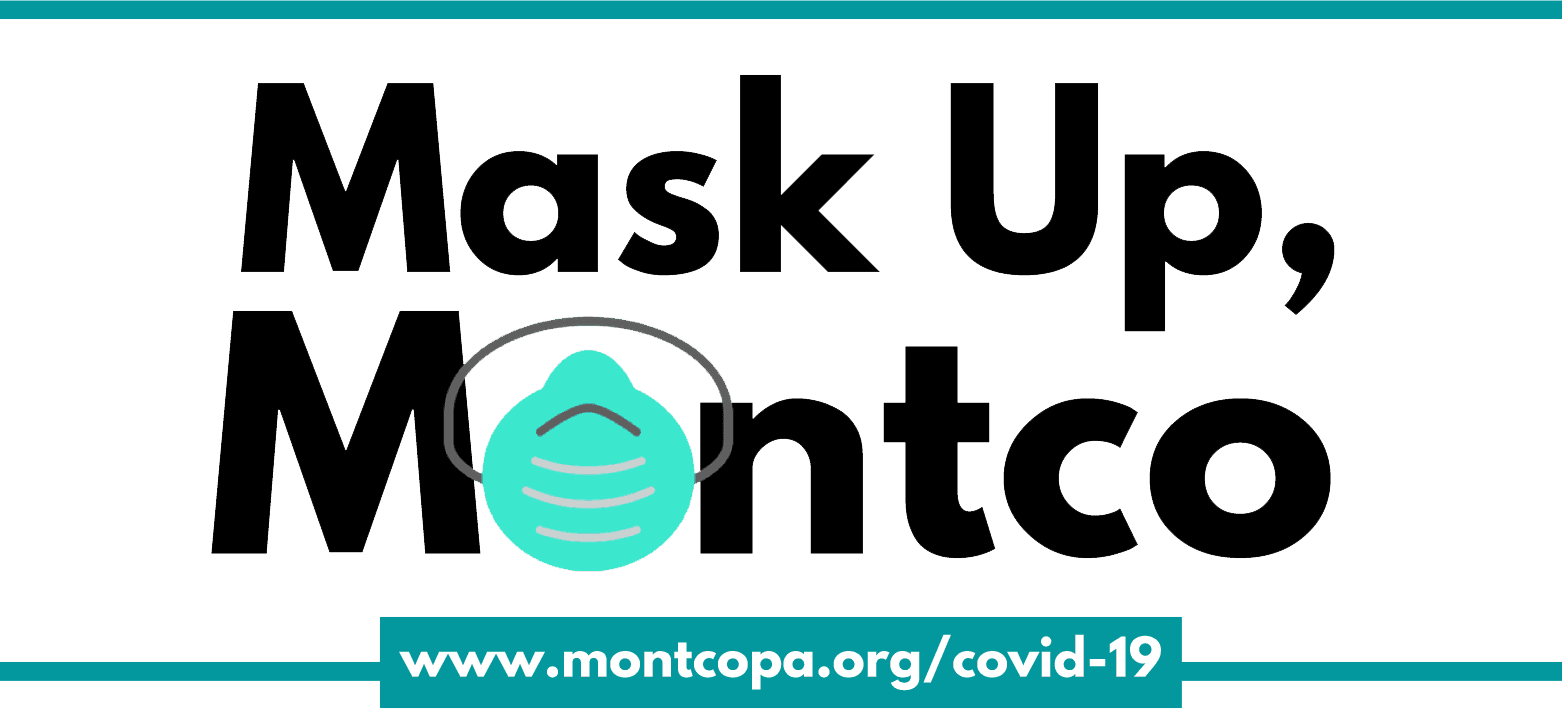 "The words ""Mask Up Montco: with a mask covering the first ""o"" in Montco"