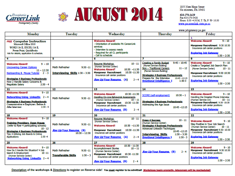 CareerLink August Calendar