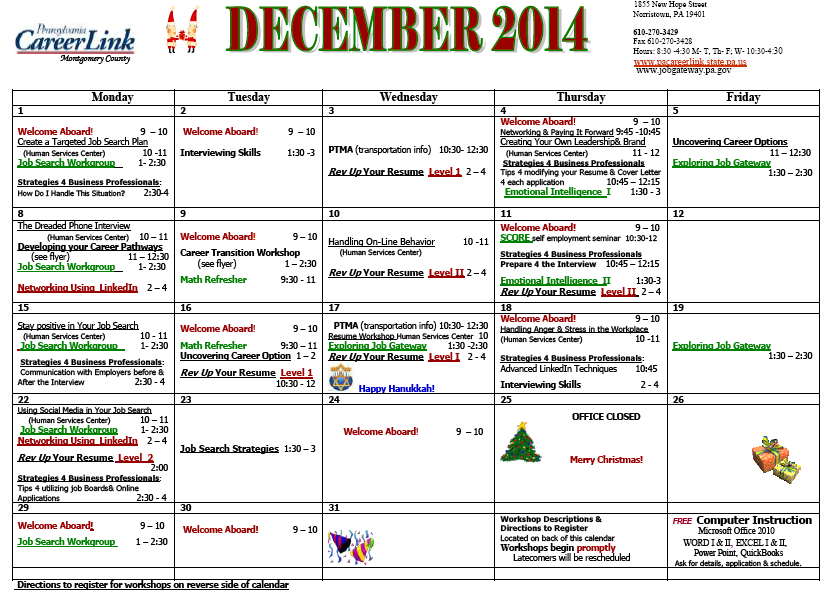 CareerLink December Calendar