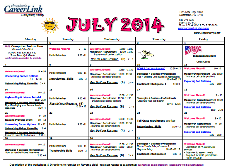 PA CareerLink July 2014 Calendar